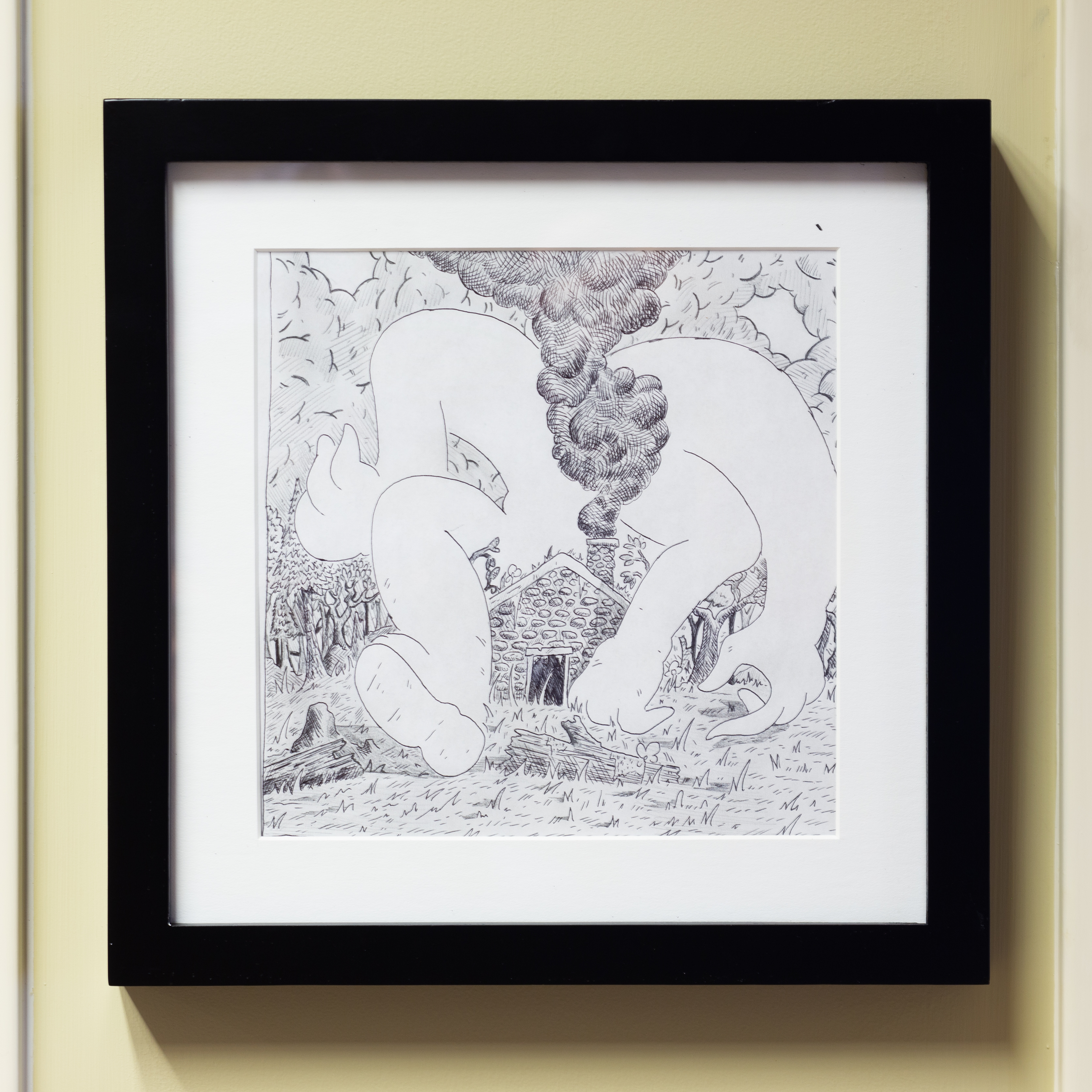 """Spencer Grady, Forest Fire, 7.5"""" x 7.5"""", ink on pencil on paper, 2019"""