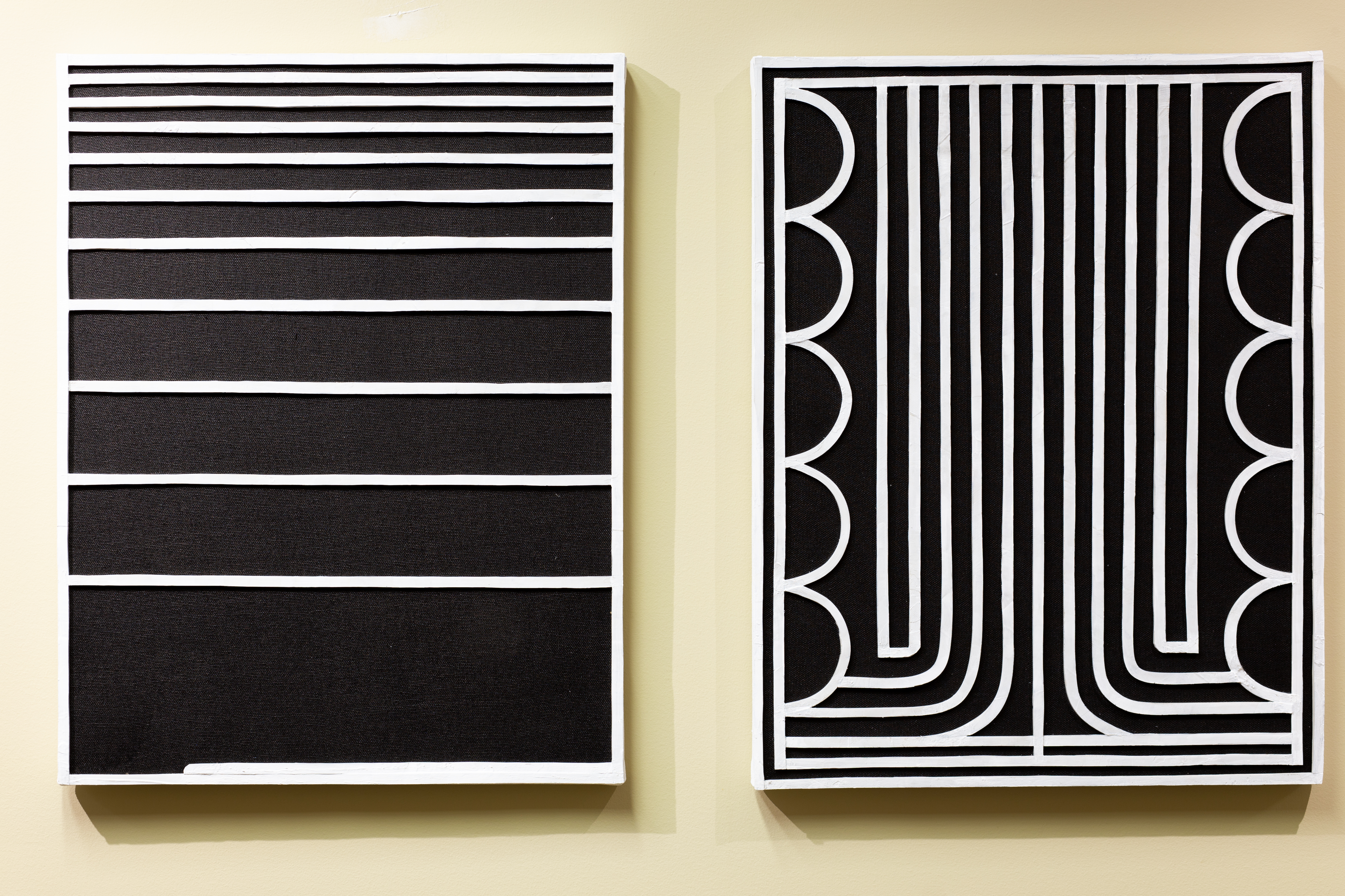 """Eric Cagley, 2, 18"""" x 14"""", dimensional acrylic on stained linen, 2018 (L), 1, 18"""" x 14"""", dimensional acrylic on stained linen, 2018"""