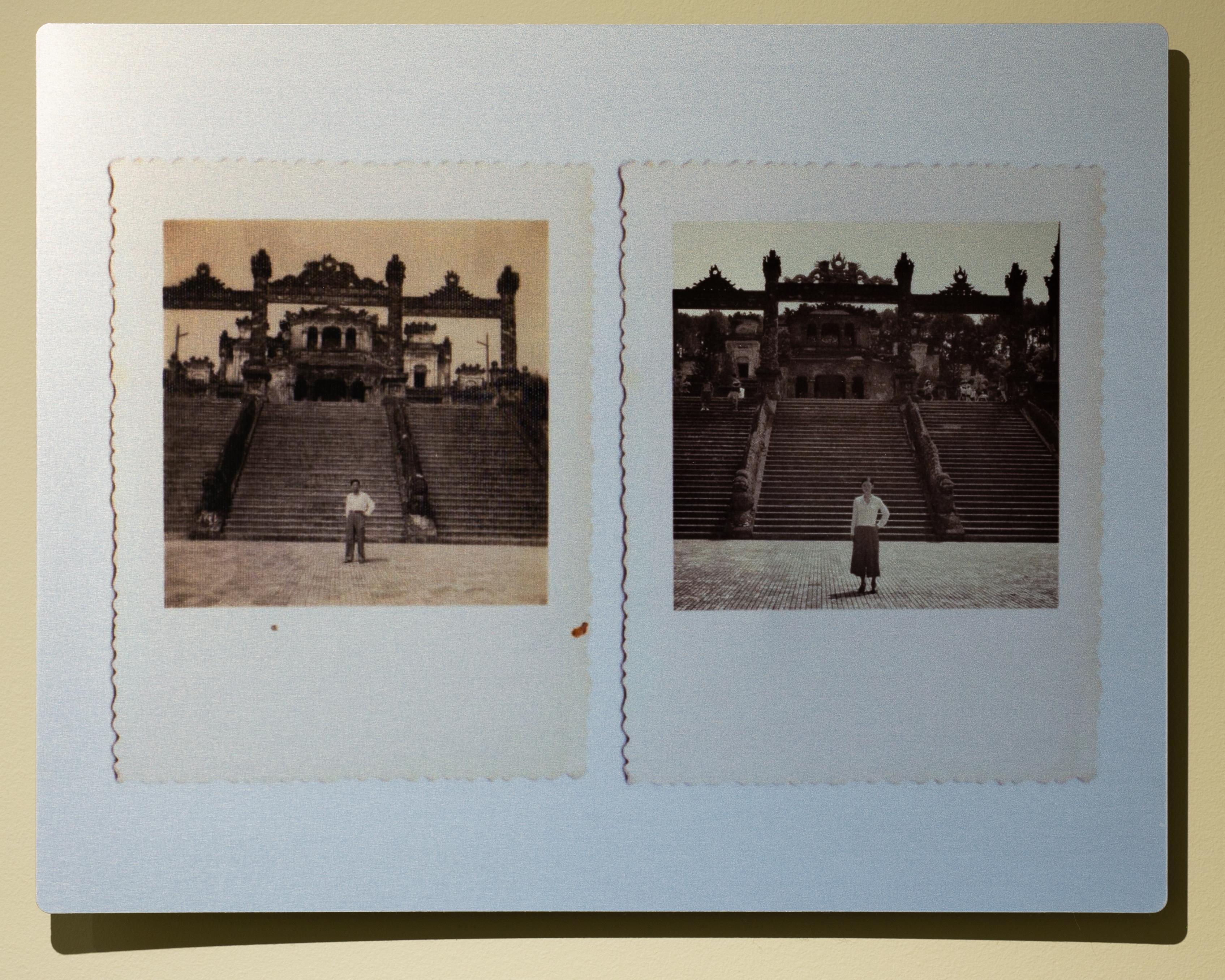"Quynh Lam, 6 Khai Dinh Mausoleum, 11"" x 14"", recreation of old family photograph, aluminum print, 2018"