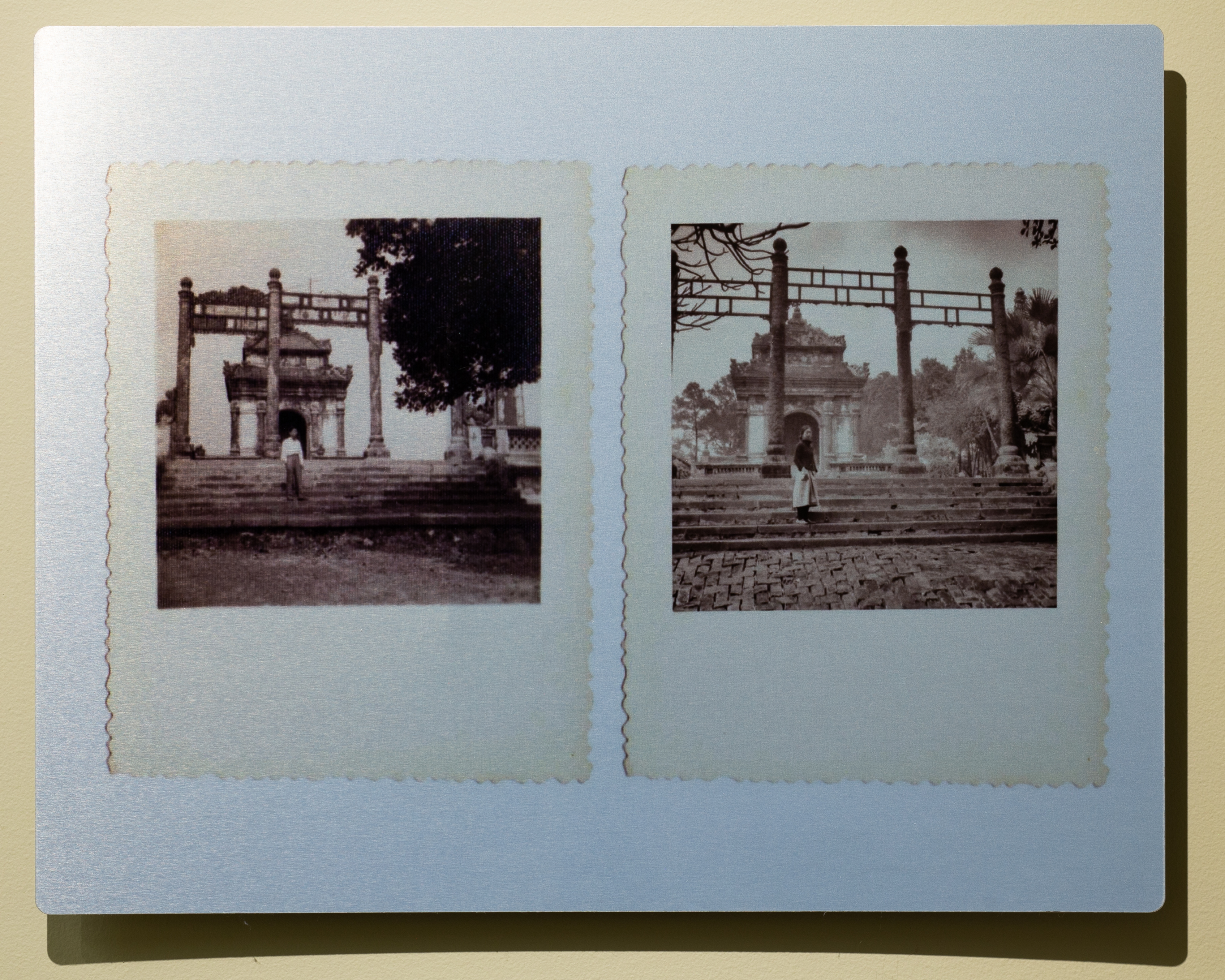 """Quynh Lam, 5 Dong Khanh Mausoleum, 11"""" x 14"""", recreation of old family photograph, aluminum print, 2018"""