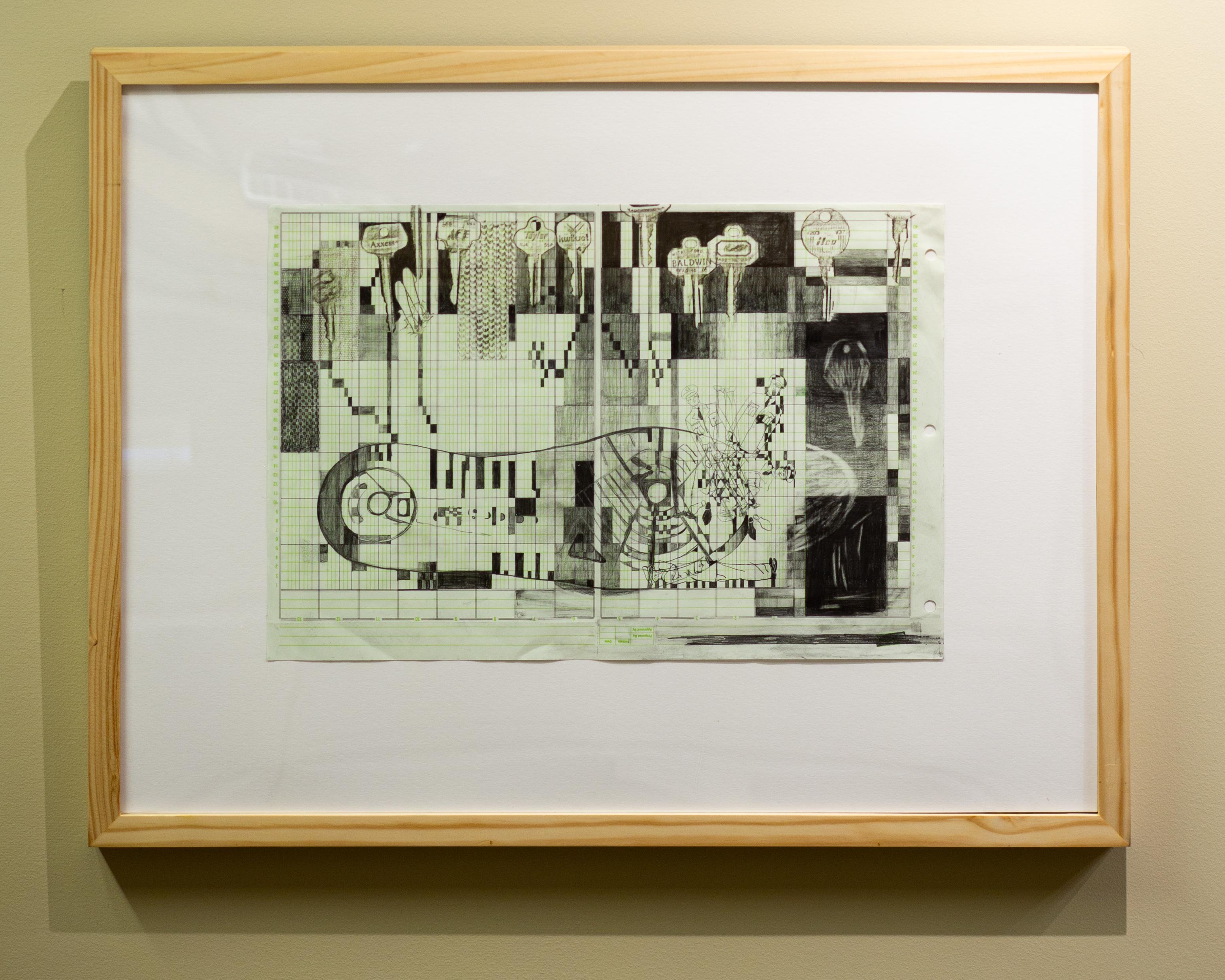 "Lynne Ghenov, Keysole, 11"" x 16 3/8"", graphite on found ledger paper, 2020"